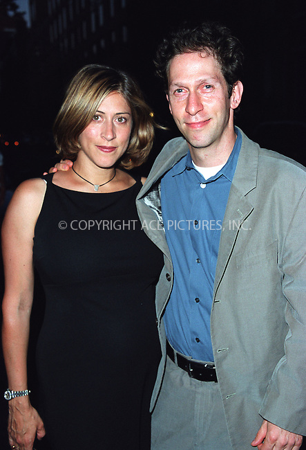 Actor Tim Blake Nelson and his pregnant wife arriving at the party celebration of the first anniversary of his club Man Ray. New York, July 10, 2002. Please byline: Alecsey Boldeskul/NY Photo Press.   ..*PAY-PER-USE*      ....NY Photo Press:  ..phone (646) 267-6913;   ..e-mail: info@nyphotopress.com