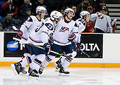 Jordan Schroeder (USA - 19), Kyle Palmieri (USA - 23), Ryan Bourque (USA - 17), Cam Fowler (USA - 24) - Team USA defeated Team Slovakia 7-3 on Saturday, December 26, 2009, at the Credit Union Centre in Saskatoon, Saskatchewan during the 2010 World Juniors tournament.