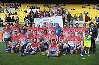 The 'Nua pose for a group photo after winning the Heartland Championship rugby match between Horowhenua Kapiti and Wairarapa Bush at Westpac Stadium in Wellington, New Zealand on Sunday, 1 October 2017. Photo: Dave Lintott / lintottphoto.co.nz