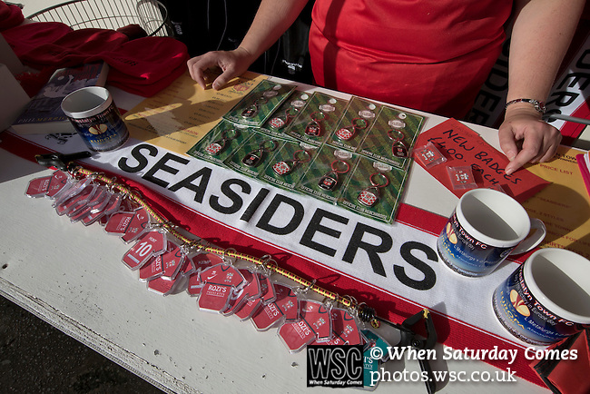 Prestatyn Town 0 Port Talbot Town 0, 19/10/2013. Bastion Gardens, Welsh Premier League. Souvenirs on sae at the club shopl at Bastion Gardens prior to the match between Prestatyn Town and visitors Port Talbot Town in the Welsh Premier League. Prestatyn Town were Welsh Cup winners in 2013. The match ended goalless and was watched by 211 spectators. Photo by Colin McPherson.