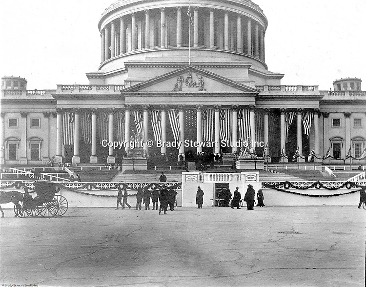 Washington DC:  View of  the US Capital getting prepared for the 1905 Presidential Inauguation of Theodore Roosevelt.  The inauguation garnered the largest crowds for any inauguation due to he broad appear across all economic classes.