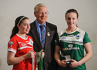 20th September 2014; <br /> GAA Handball president Wille Roche with Catriona Casey of Cork and Martina McMahon of Limerick after the presentation.<br /> M Donnelly All-Ireland Ladies 60x30 Handball Singes Final<br /> Catriona Casey (Cork) v Martina McMahon (Limerick) . <br /> Abbeylara, Co Longford<br /> Picture credit: Tommy Grealy/actionshots.ie