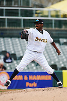 Trenton Thunder pitcher Francisco Rondon (52) during game against the Akron Aeros at ARM & HAMMER Park on April 17, 2013 in Trenton, New Jersey.  Akron defeated Trenton 10-6.  Tomasso DeRosa/Four Seam Images