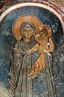 Virgin Hodegitria,wall-painting,South-west chapel,Katholikon Church of St. Luke,11th Century,Osios Loukas Monastery,Greece