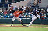 Bradenton Marauders first baseman Will Craig (45) stretches for a throw from Fort Myers Miracle pitcher Dereck Rodriguez (not shown) to force out Tampa Yankees Jorge Mateo (14) in the bottom of the third inning of the Florida State League All-Star Game on June 17, 2017 at Joker Marchant Stadium in Lakeland, Florida.  FSL North All-Stars  defeated the FSL South All-Stars  5-2.  (Mike Janes/Four Seam Images)