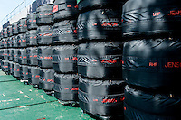 March 14, 2014: Tyres outside the McLaren Mercedes team garage prior to practice session one at the 2014 Australian Formula One Grand Prix at Albert Park, Melbourne, Australia. Photo Sydney Low.