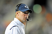 Sept. 19, 2009; Provo, UT, USA; BYU Cougars head coach Bronco Mendenhall reacts in the closing minutes of the game against the Florida State Seminoles at LaVell Edwards Stadium. Florida State defeated BYU 54-28. Mandatory Credit: Mark J. Rebilas-