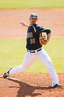 Charlotte 49ers starting pitcher Brock Hudgens (38) in action against the Canisius Golden Griffins at Hayes Stadium on February 23, 2014 in Charlotte, North Carolina.  The Golden Griffins defeated the 49ers 10-1.  (Brian Westerholt/Four Seam Images)