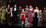 J. Elaine Marcos, Clarke Thorell, Anthony Warlow, Lilla Crawford, Sunny, Katie Finneran, Merwin Foard, Brynn O'Malley & Company during the Broadway Opening Night Performance Curtain Call for 'Annie' at the Palace Theatre in New York City on 11/08/2012
