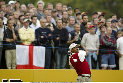 TIGER WOODS (USA) on the 15th tee, Foursomes Match, 34th Ryder Cup, The Belfry, Sutton Coldfield, 020928. Photo: Glyn Kirk/Action Plus....2002.golf golfer player