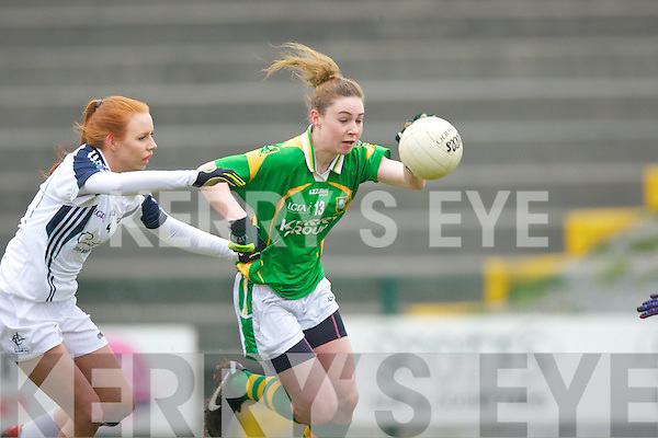 Laura Rogers Kerry goes past A Curley Kildare in Killarney on Sunday