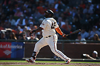 SAN FRANCISCO, CA - SEPTEMBER 17:  Pablo Sandoval #48 of the San Francisco Giants bats against the Arizona Diamondbacks during the game at AT&T Park on Sunday, September 17, 2017 in San Francisco, California. (Photo by Brad Mangin)
