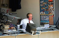 Los Angeles, CA - May 27 :  Dodgers Announcer Vin Scully the during a game against the Chicago Cubs  at Dodger Stadium in Los Angeles, California. The Dodgers defeated the Cubs 2-1 in 11 innings.