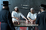 Ultra-Orthodox Jews wait for their slaughtered chickens to be cleaned-up, after performing a 'Kaparot' ceremony, in the ultra-orthodox Jewish city of Bnei Brak, near Tel Aviv, Israel. The participants in the Jewish ritual believe they transfer their past year's sins to the chicken, and perform it before the Day of Atonement ('Yom Kippur'), the holiest day in the Jewish calendar.