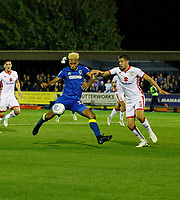 AFC Wimbledon's Lyle Taylor shapes for the shot during the Sky Bet League 1 match between AFC Wimbledon and MK Dons at the Cherry Red Records Stadium, Kingston, England on 22 September 2017. Photo by Carlton Myrie / PRiME Media Images.