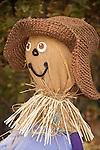 Town community scarecrow autumn decorations.