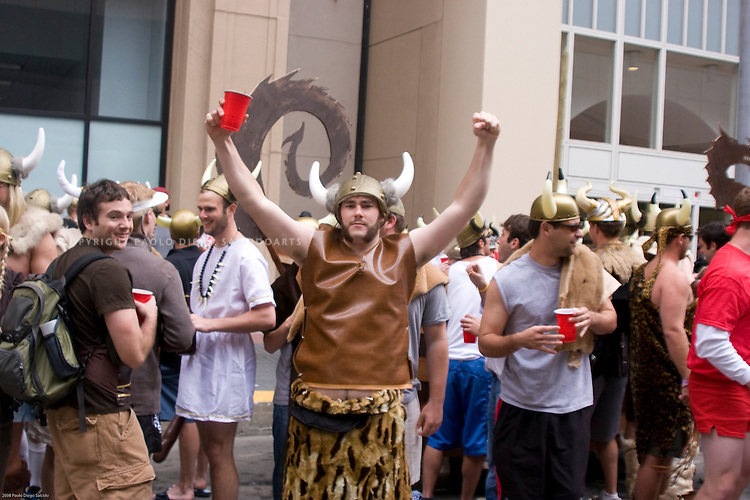Viking/costumed/man/celebrates/Bay to Breakers Race/San Francisco/photograph/by Paolo Diego SalcidoArts