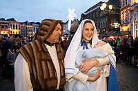 Nederland Den Bosch 2017-01-08.  Driekoningen viering. Optocht over de Markt. Maria met baby. Foto Berlinda van Dam / Hollandse Hoogte