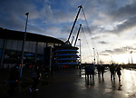 The sun sets over the stadium before kick off during the premier league match at the Etihad Stadium, Manchester. Picture date 3rd December 2017. Picture credit should read: Andrew Yates/Sportimage