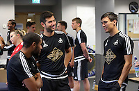 Pictured L-R: Ashley Williams, Jordi Amat and Jack Cork Sunday 28 June 2015<br />