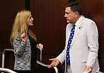 Nevada Assembly Republicans Melissa Woodbury and PK O'Neill talk on the Assembly floor at the Legislative Building in Carson City, Nev., on Friday, May 22, 2015. <br /> Photo by Cathleen Allison
