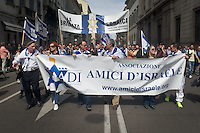 The Israel friends during 25 April demonstration italian liberation of Nazi Fascism World War II thanks by partigiani, on April 25, 2014. Photo: Adamo Di Loreto/BuenaVista*photo