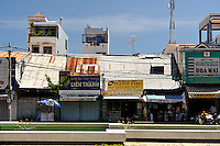 Old corrugated-iron roofed shops, Vung Tau, Vietnam