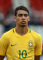 Lucas Paqueta of Brazil during the International match between England U20 and Brazil U20 at the Aggborough Stadium, Kidderminster, England on 4 September 2016. Photo by Andy Rowland / PRiME Media Images.