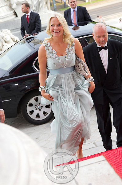 Crown Princess Mette Marit of Norway on a three day visit to Vienna to attend the 18th International UNAIDS Conference, attends a Dinner at The Austrian Parliament.