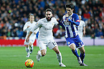 Real Madrid´s Daniel Carvajal (L) and Deportivo de la Coruna´s Luis Alberto during 2015/16 La Liga match between Real Madrid and Deportivo de la Coruna at Santiago Bernabeu stadium in Madrid, Spain. January 09, 2015. (ALTERPHOTOS/Victor Blanco)
