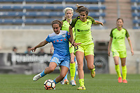 Bridgeview, IL - Sunday June 04, 2017: Danielle Colaprico, Katlyn Johnson during a regular season National Women's Soccer League (NWSL) match between the Chicago Red Stars and the Seattle Reign FC at Toyota Park. The Red Stars won 1-0.