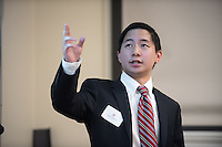"Trevor Osaki '17 talks about ""Does Federal Financial Aid Raise College Tuition?""<br /> Occidental College's Undergraduate Research Center hosts their annual Summer Research Conference on Aug. 4, 2016. Student researchers presented their work as either oral or poster presentations at the final conference. The program lasts 10 weeks and involves independent research in all departments.<br /> (Photo by Marc Campos, Occidental College Photographer)"