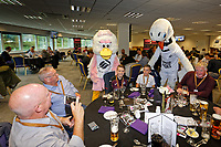 Cyril and Cybil the Swans with supporters in the 1912 Lounge prior to the Sky Bet Championship match between Swansea City and Bristol City at the Liberty Stadium, Swansea, Wales, UK. Saturday 25 August 2018