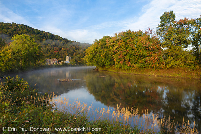 Farm along the Connecticut River in Maidstone, Vermont during the autumn months.