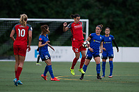 Seattle, WA - Saturday, July 1, 2017:  Christine Sinclair, Christine Nairn during a regular season National Women's Soccer League (NWSL) match between the Seattle Reign FC and the Portland Thorns FC at Memorial Stadium.