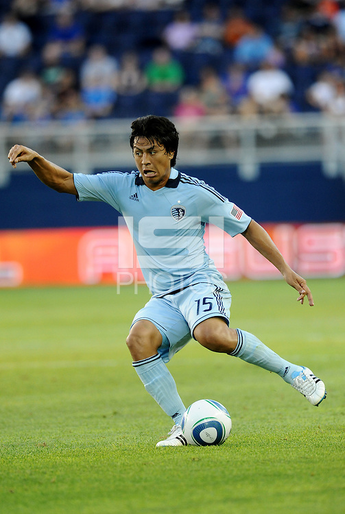 Sporting KC midfielder Roger Espinoza in action... Sporting Kansas City defeated Real Salt Lake 2-0 at LIVESTRONG Sporting Park, Kansas City, Kansas.