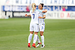 CHESTER, PA - MARCH 01: Jordan Nobbs (ENG) (7) celebrates her goal with Demi Stokes (ENG) (3). The England Women's National Team played the France Women's National Team as part of the She Believes Cup on March, 1, 2017, at Talen Engery Stadium in Chester, PA. The France won the game 2-1.