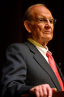 George McGovern speeks at Macky Auditorium during the Conference on World Affairs at the University of Colorado, Boulder, Friday, April 11, 2003. ..Photo/Matt Nager