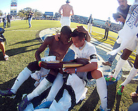 Kofi Sarkodie #8 and Anthony Ampaipaitakwong #10 of the University of Akron after the 2010 College Cup final against the University of Louisville at Harder Stadium, on December 12 2010, in Santa Barbara, California. Akron champions, 1-0.