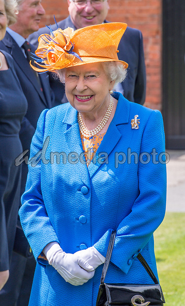 25 May 2017 - Queen Elizabeth II at Lower Castle Hayes farm, one of the Duchy of Lancaster Farms in Staffordshire. Photo Credit: ALPR/AdMedia