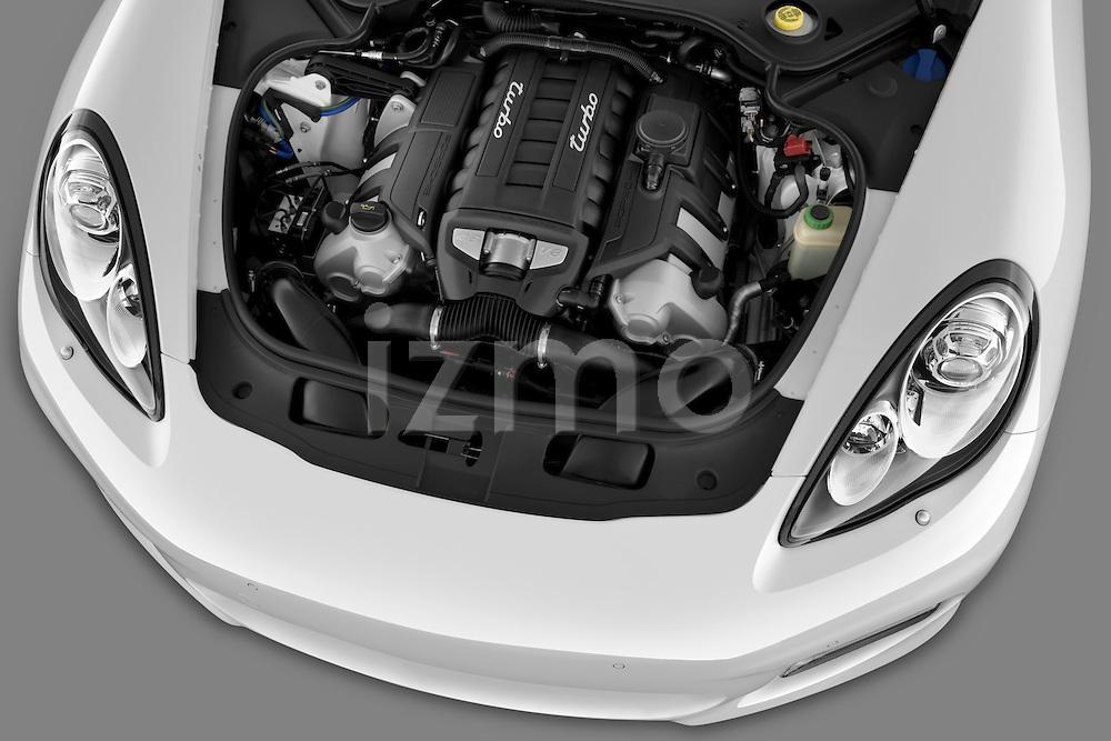 High angle engine detail of a 2010 Porsche Panamera Turbo .