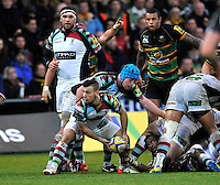 Northampton, England. Danny Care of Harlequins clears the ball during the Aviva Premiership match between Northampton Saints and Harlequins at Franklin's Gardens on December 22. 2012 in Northampton, England.