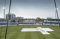 The covers on - view from the JP Morgan Media centre during Middlesex CCC vs Lancashire CCC, Specsavers County Championship Division 2 Cricket at Lord's Cricket Ground on 13th April 2019