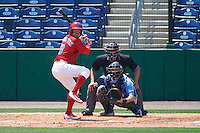 Clearwater Threshers right fielder Herlis Rodriguez (33) at bat in front of catcher Mac James (8) and umpire Mike Savakinas during a game against the Charlotte Stone Crabs on April 13, 2016 at Bright House Field in Clearwater, Florida.  Charlotte defeated Clearwater 1-0.  (Mike Janes/Four Seam Images)