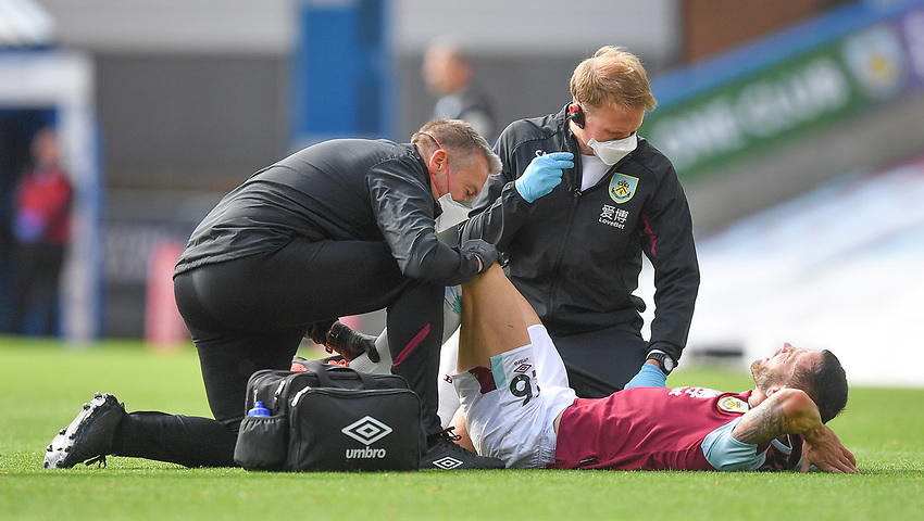 Burnley's Phillip Bardsley receives treatment<br /> <br /> Photographer Dave Howarth/CameraSport<br /> <br /> The Premier League - Burnley v Brighton & Hove Albion - Sunday 26th July 2020 - Turf Moor - Burnley<br /> <br /> World Copyright © 2020 CameraSport. All rights reserved. 43 Linden Ave. Countesthorpe. Leicester. England. LE8 5PG - Tel: +44 (0) 116 277 4147 - admin@camerasport.com - www.camerasport.com