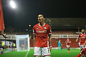 12th September 2017, Oakwell, Barnsley, England; Carabao Cup, second round, Barnsley versus Derby County; Adam Hammill of Barnsley FC celebrates his late goal 3-2 Barnsley