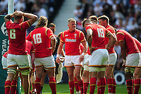 Gareth Anscombe of Wales speaks to his team-mates under the posts. Old Mutual Wealth Cup International match between England and Wales on May 29, 2016 at Twickenham Stadium in London, England. Photo by: Patrick Khachfe / Onside Images