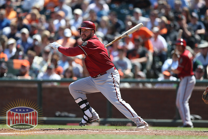 SAN FRANCISCO, CA - APRIL 24:  Eric Hinske #22 of the Arizona Diamondbacks hits a pinch-hit double against the San Francisco Giants during the game at AT&T Park on Wednesday, April 24, 2013 in San Francisco, California. Photo by Brad Mangin