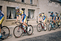 Kevin Deltombe (BEL/Sport Vlaanderen Baloise) over the town's pavéd main road<br /> <br /> 59th Grand Prix de Wallonie 2018 <br /> 1 Day Race from Blegny to Citadelle de Namur (BEL / 206km)