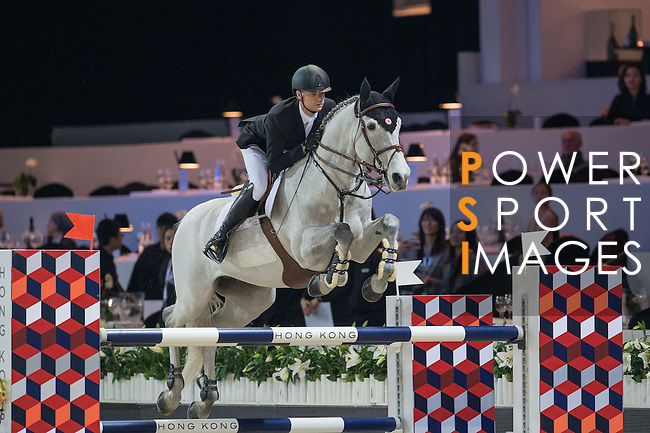 Jerome Guery of Belgium riding Papillon Z competes during the Hong Kong Tatler Trophy, part of the Longines Masters of Hong Kong on 12 February 2017 at the Asia World Expo in Hong Kong, China. Photo by Juan Manuel Serrano / Power Sport Images